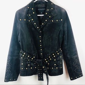 Bernardo | Boho Brown Suede Leather Studded Jacket